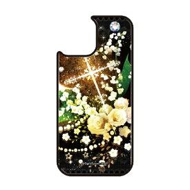 藤家 Fujiya iPhone11Pro VESTI 着せ替え用背面カバー(ガラスハイブリッド) 幻想デザイン  O. 白薔薇クロス VESTI O.白薔薇クロス vegp7418-o-ip11pro