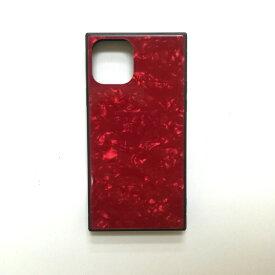 アクロス ACROSS iPhone11 Pro SQガラスハイブリッドケース(シェル柄) AIC-SHE03-NEW58 レッド