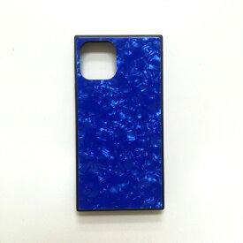 アクロス ACROSS iPhone11 Pro Max SQガラスハイブリッドケース(シェル柄) AIC-SHE10-NEW65 ブルー
