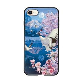 藤家 Fujiya iPhone8/7 (4.7) ラッセン ガラスハイブリッド ケース ghp7042-bk-d-ip8
