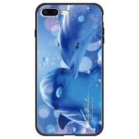 藤家 Fujiya iPhone8P/7P (5.5) ラッセン ガラスハイブリッド ケース ghp7042-bk-b-ip8p