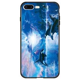 藤家 Fujiya iPhone8P/7P (5.5) ラッセン ガラスハイブリッド ケース ghp7042-bk-c-ip8p