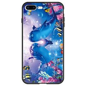 藤家 Fujiya iPhone8P/7P (5.5) ラッセン ガラスハイブリッド ケース ghp7044-bk-a-ip8p