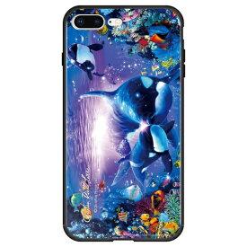 藤家 Fujiya iPhone8P/7P (5.5) ラッセン ガラスハイブリッド ケース ghp7043-bk-d-ip8p
