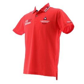 ルコック le coq メンズ 半そでシャツ ドライ鹿の子シーズンマーキング半袖シャツ(Mサイズ/レッド)QGMPJA25