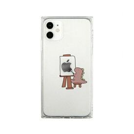 ROA ロア iPhone 11 ソフト スクエアケース おしごとダイナソー 画家 ピンク AKAN