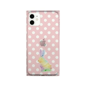 ROA ロア iPhone 11 ソフト スクエアケース 虹色ウサギちゃん ピンク AKAN