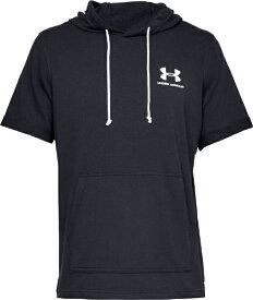 アンダーアーマー UNDER ARMOUR LGサイズ メンズ トレーニングTシャツ UAスポーツスタイル テリー ショートスリーブ フーディ(ブラック×オニキスホワイト) 1358567
