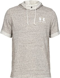 アンダーアーマー UNDER ARMOUR MDサイズ メンズ トレーニングTシャツ UAスポーツスタイル テリー ショートスリーブ フーディ(オニキスホワイト×オニキスホワイト) 1358567