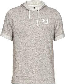 アンダーアーマー UNDER ARMOUR LGサイズ メンズ トレーニングTシャツ UAスポーツスタイル テリー ショートスリーブ フーディ(オニキスホワイト×オニキスホワイト) 1358567