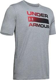 アンダーアーマー UNDER ARMOUR MDサイズ メンズ トレーニングTシャツ UAチーム イシュー ワードマーク ショートスリーブ(スチールライトヘザー×ブラック) 1358570