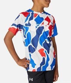 アンダーアーマー UNDER ARMOUR YLGサイズ ボーイズ トレーニングTシャツ UAテック ビッグロゴ プリント ショートスリーブ(バーサブルー×ホワイト) 1351851