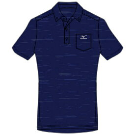 ミズノ mizuno メンズ 杢柄ボタンダウン半袖ポロシャツ(Lサイズ/ディープネイビー) K2JA0182