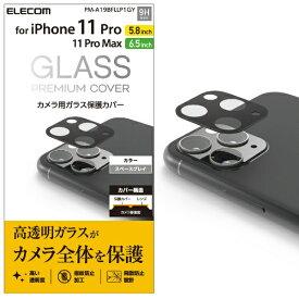 エレコム ELECOM iPhone11Proシリーズカメラレンズフィルム ガラスカバー グレー PM-A19BFLLP1GY