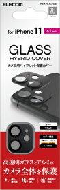 エレコム ELECOM iPhone11専用 カメラレンズフィルム デザインフレーム ガラス ブラック PM-A19CFLLP4BK