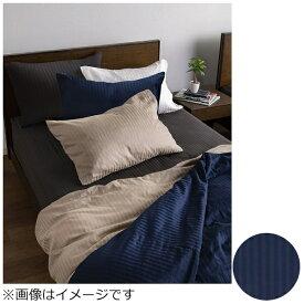 フランスベッド FRANCEBED 【ボックスシーツ】ライン&アースN ダブルサイズ(綿100%/140×195×35cm/ネイビー) フランスベッド