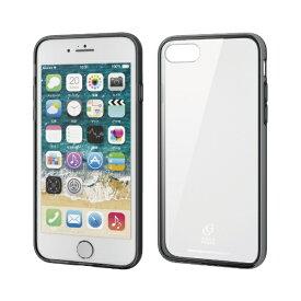 エレコム ELECOM iPhone SE(第2世代)4.7インチ対応 ハイブリッドケース ガラス スタンダード ブラック PM-A19AHVCG1BK