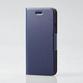 エレコム ELECOM iPhone SE(第2世代)4.7インチ対応 ソフトレザーケース 薄型 磁石付 ネイビー PM-A19APLFUNV