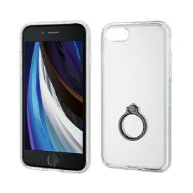 エレコム ELECOM iPhone SE(第2世代)4.7インチ対応 ハイブリッドケース リング付 ブラック PM-A19AHVCRBK