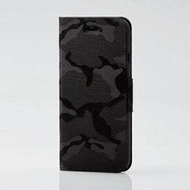 エレコム ELECOM iPhone SE(第2世代)4.7インチ対応 ファブリックケース 薄型 カモフラ 磁石付 ブラック PM-A19APLFUCFBK