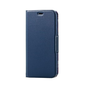 エレコム ELECOM iPhone SE(第2世代)4.7インチ対応 ソフトレザーケース 薄型 女子向 磁石付 ネイビー PM-A19APLFUJNV