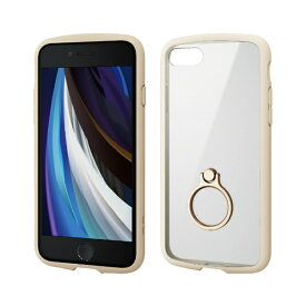 エレコム ELECOM iPhone SE(第2世代)4.7インチ対応 TOUGH SLIM LITE フレームカラー リング付 アイボリー PM-A19ATSLFCRIV