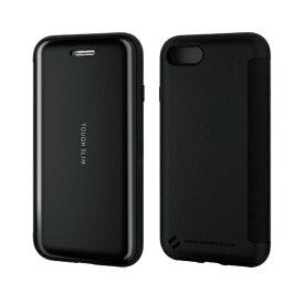 エレコム ELECOM iPhone SE(第2世代)4.7インチ対応 TOUGH SLIM シェルフラップ ブラック PM-A19ATSSBK