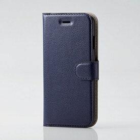 エレコム ELECOM iPhone SE(第2世代)4.7インチ対応 ソフトレザーケース 薄型 磁石付 ステッチ ネイビー PM-A19APLFU2NV