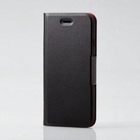 エレコム ELECOM iPhone SE(第2世代)4.7インチ対応 ソフトレザーケース 薄型 磁石付 ブラック PM-A19APLFUBK