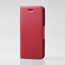 エレコム ELECOM iPhone SE(第2世代)4.7インチ対応 ソフトレザーケース 薄型 磁石付 レッド PM-A19APLFURD