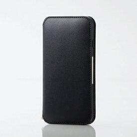 エレコム ELECOM iPhone SE(第2世代)4.7インチ対応 ソフトレザーケース 磁石付 ブラック PM-A19APLFY2BK