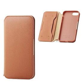 エレコム ELECOM iPhone SE(第2世代)4.7インチ対応 ソフトレザーケース 磁石付 ブラウン PM-A19APLFY2BR