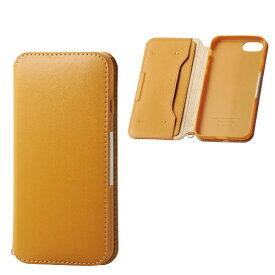 エレコム ELECOM iPhone SE(第2世代)4.7インチ対応 ソフトレザーケース 磁石付 キャメル PM-A19APLFY2CL