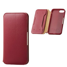 エレコム ELECOM iPhone SE(第2世代)4.7インチ対応 ソフトレザーケース 磁石付 レッド PM-A19APLFY2RD