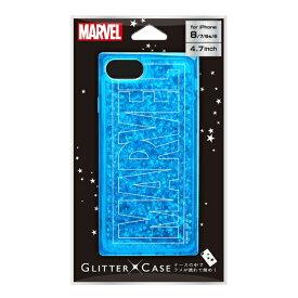 PGA iPhone 8/7/6s/6用 グリッターケース ロゴ/ブルー Premium Style PG-DLQ17M07MVL