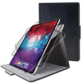 エレコム ELECOM 12.9インチ iPad Pro(第4世代)用 フラップカバー ヴィーガンレザー 360度回転4アングル ブラック TB-A20PL360BK
