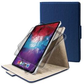 エレコム ELECOM 11インチ iPad Pro(第2世代)用 フラップカバー ヴィーガンレザー 360度回転4アングル ネイビー TB-A20PM360NV