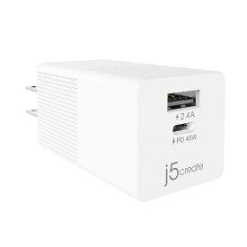 j5 create ジェイファイブクリエイト AC - USB充電器 ノートPC・タブレット対応 45W [2ポート:USB-C+USB-A /USB PD対応] ホワイト JUP2445