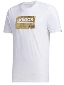 アディダス adidas メンズ MグラフィックTシャツ(Oサイズ/ホワイト×ゴールドメタリック) GVB49 FM6259