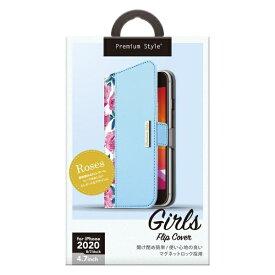 PGA iPhone SE(第2世代) ガールズフリップカバー ローズ ブルー PG-20MFP10BL