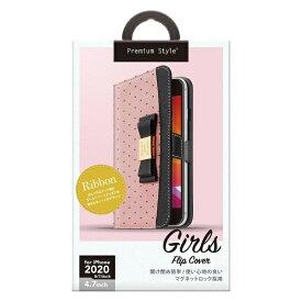 PGA iPhone SE(第2世代) ガールズフリップカバー リボン ピンク PG-20MFP12PK