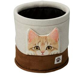 BONFORM ボンフォーム 7252-43BE 車用ゴミ箱 フェリシモ猫部 FNひょっこり子猫 小物入れにも 17.5x17.5x18cm ベージュ