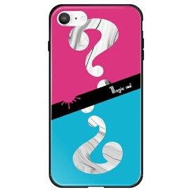 藤家 Fujiya iPhone SE(第2世代)/8/7 マジックインキ ガラスハイブリッド E. ピンク&ブルー ghp7170-bk-e-ipse2