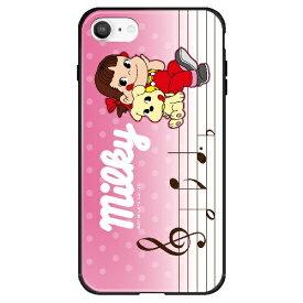 藤家 Fujiya iPhone SE(第2世代)/8/7 不二家 ガラスハイブリッド I. ペコと音符 ghp7050-bk-i-ipse2