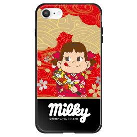 藤家 Fujiya iPhone SE(第2世代)/8/7 不二家 ガラスハイブリッド N. ペコ和柄レッド ghp7050-bk-n-ipse2