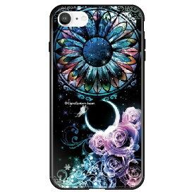 藤家 Fujiya iPhone SE(第2世代)/8/7 幻想デザイン ガラスハイブリッド B. ステンドグラスローズ ghp7053-bk-b-ipse2