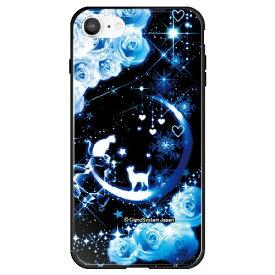 藤家 Fujiya iPhone SE(第2世代)/8/7 幻想デザイン ガラスハイブリッド D. 猫とブルームーン ghp7053-bk-d-ipse2