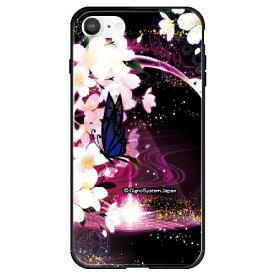 藤家 Fujiya iPhone SE(第2世代)/8/7 幻想デザイン ガラスハイブリッド E. 蝶と桜 ghp7053-bk-e-ipse2