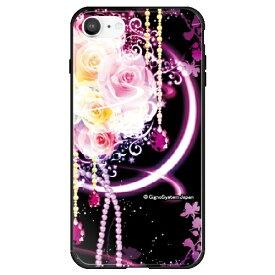 藤家 Fujiya iPhone SE(第2世代)/8/7 幻想デザイン ガラスハイブリッド H. 幻想ピンクローズ ghp7053-bk-h-ipse2