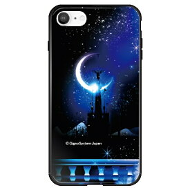 藤家 Fujiya iPhone SE(第2世代)/8/7 幻想デザイン ガラスハイブリッド I. 城とブルームーン ghp7053-bk-i-ipse2
